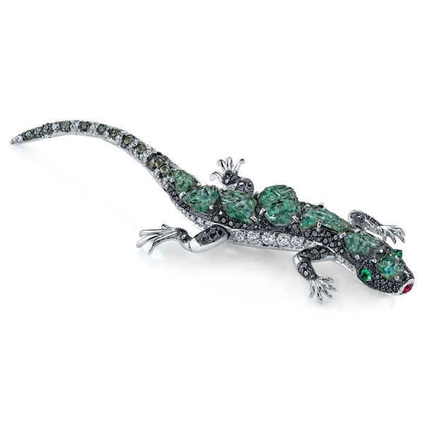 Omi Prive rough alexandrite lizard brooch
