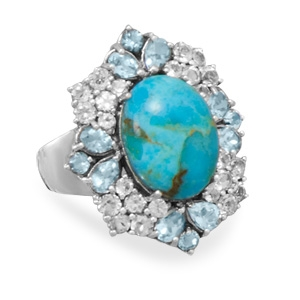 Silver Stars Collection turquoise and topaz ring