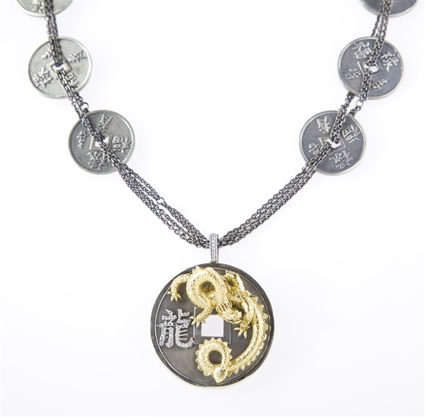 Stambolian Chinese Lucky Dragon coin necklace