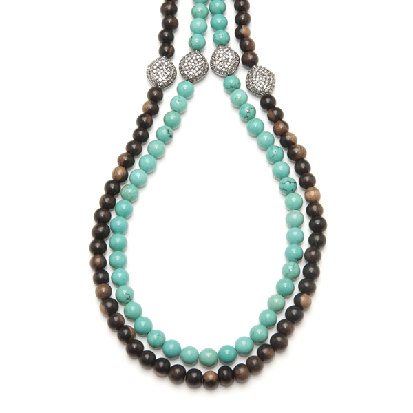 Marcia Moran turquoise and wood bead strands