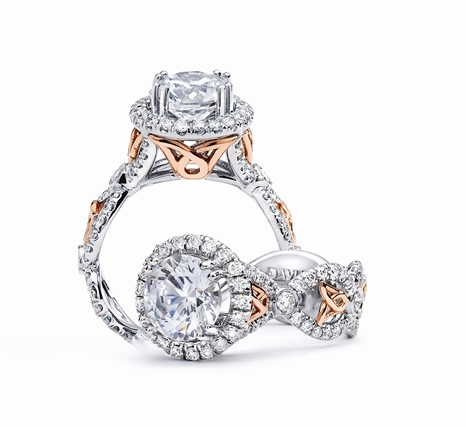 Daviani Collection rose gold accent engagement ring