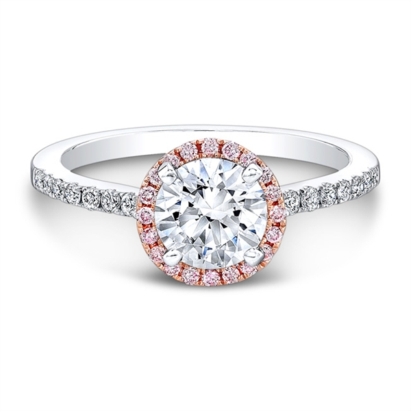 Natalie K pink halo diamond engagement ring