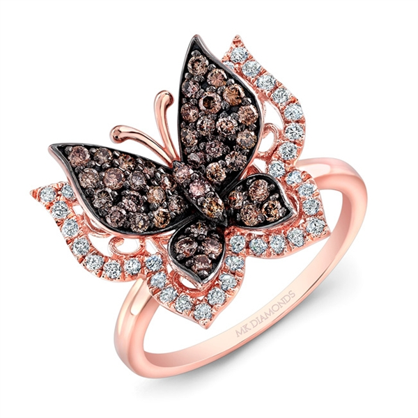 Mk Diamonds & Jewelry brown diamond butterfly ring