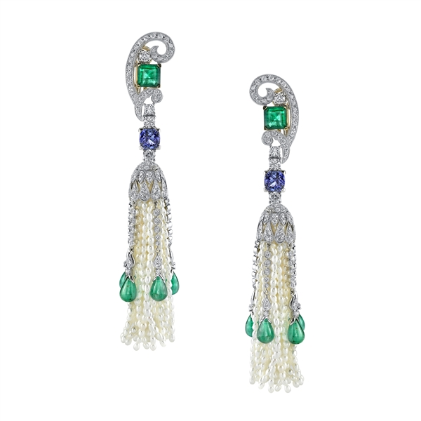 Vanna K Art Deco inspired pearl tassel earrings