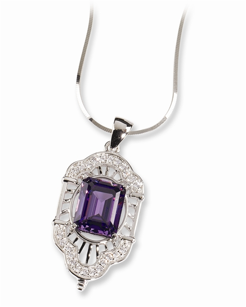 Sterling Reputation Art Deco style CZ pendant