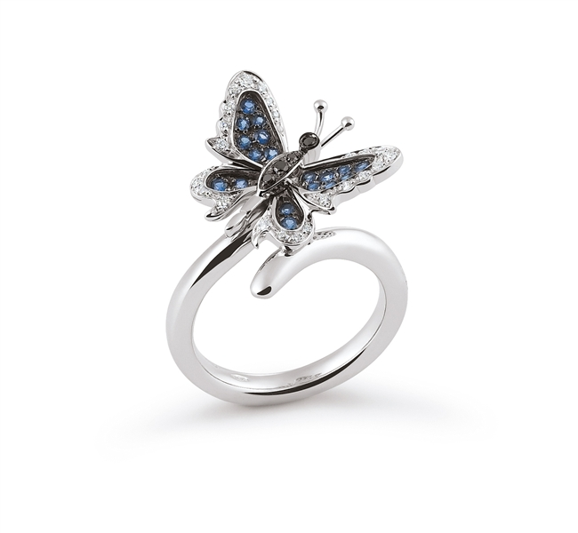 Orsini sapphire and diamond butterfly ring