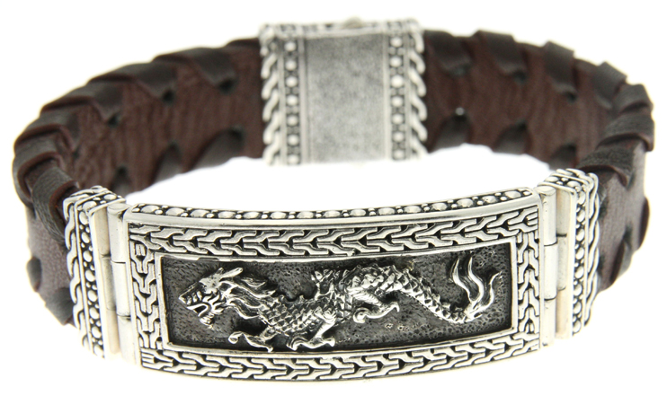 Samuel B leather bracelet with silver and dragon motif