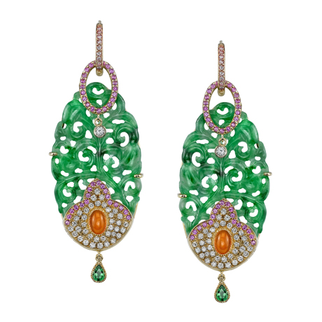 Erica Courtney jadeite, gold, pink sapphire, orange chalcedony, diamond, and tsavorite earrings