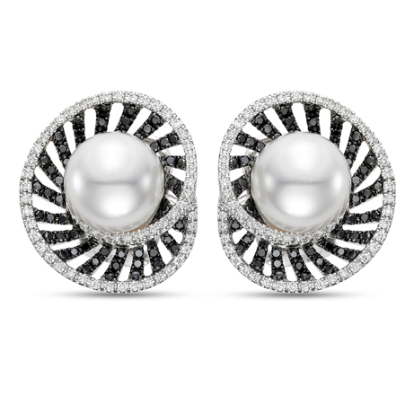 Mastoloni pearl fan earrings in 18k gold with diamonds