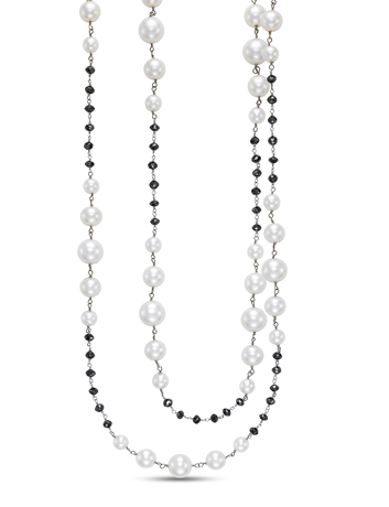 Mastoloni pearl and black diamond necklace