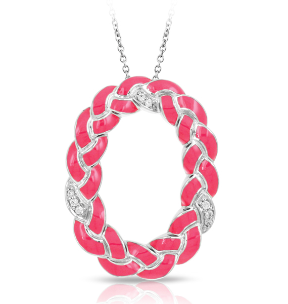 Belle Etoile Constellations hot pink oval braid pendant