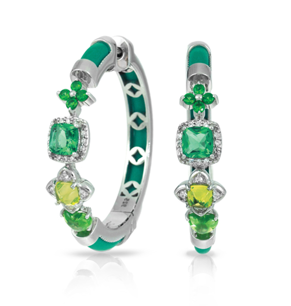 Belle Etoile green Constellations hoop earrings