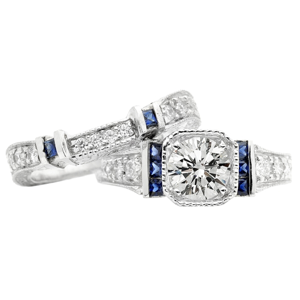 Timeless Designs by Jacob & Bryan sapphire and diamond bridal set