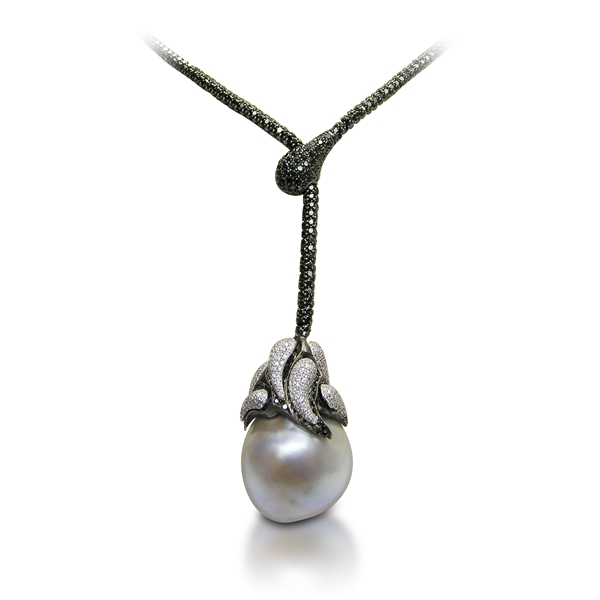 Yvel pearl and diamond lariat