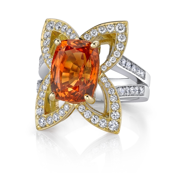 Omi Prive two-tone orange sapphire ring