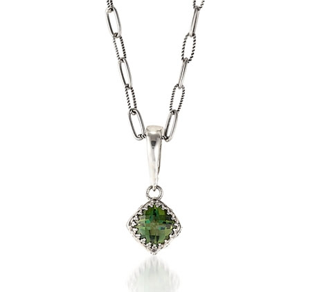 Sara Blaine Crown Jewel emerald green topaz pendant