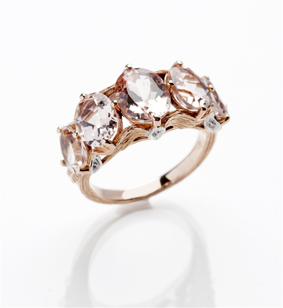 Loretta Castoro Love Doves 5-stone morganite ring