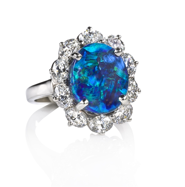 Oscar Heyman opal and diamond Entourage ring