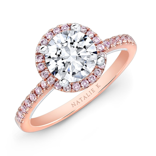 Natalie k Le Rosè pink diamond halo ring