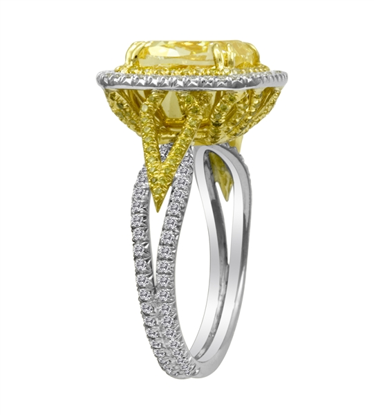 First Image Design fancy yellow diamond ring