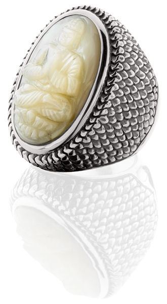 KIR Madison carved mother of pearl ring