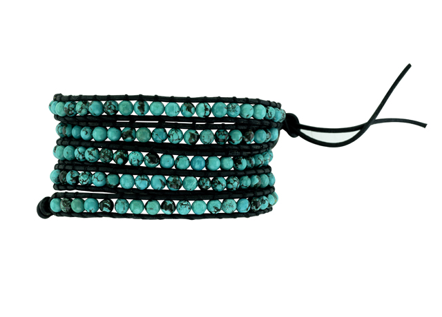 Samuel B. friendship bracelet with turquoise and leather