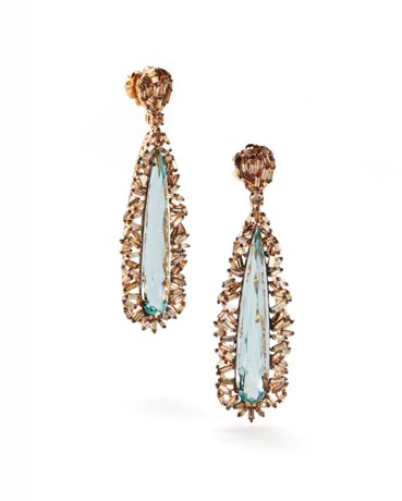 Earrings in 18k gold with aquamarine and brown diamond baguettes from Baguette collection by Suzanne Kalan