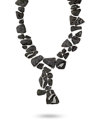 Kara Ross one-of-a-kind concrete necklace with gray diamonds