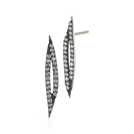 Mary Esses silver earrings with gray diamonds