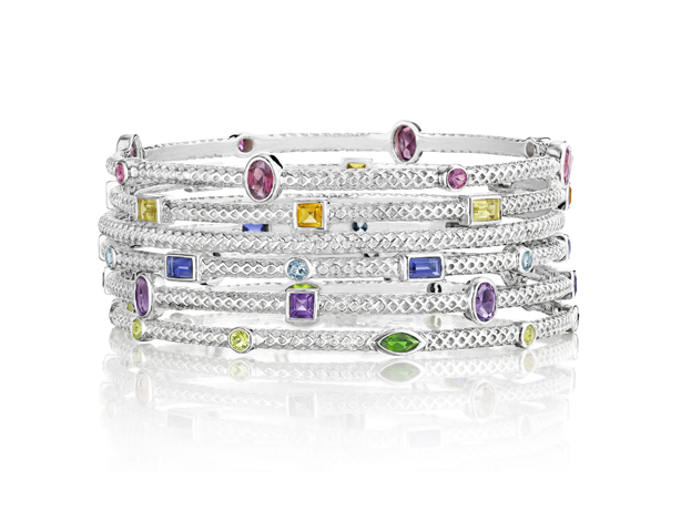 Thistle & Bee Silver and gemstone Burlap collection of bangles
