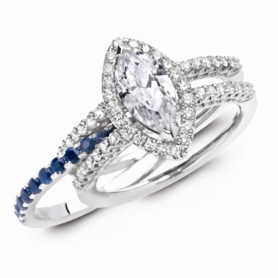 MJ Wilman marquise and blue diamond engagement set
