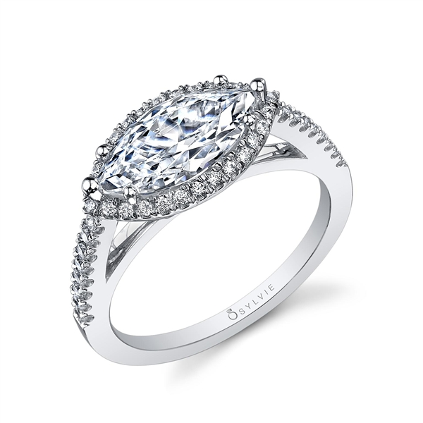 Sylvie Collection marquise diamond engagement ring