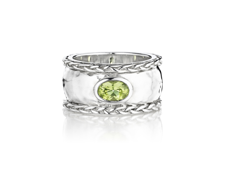 Thistle Bee hammered peridot ring