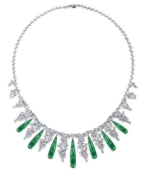 ENZO green tourmaline and diamond collar necklace