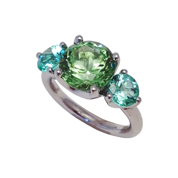 Jane Taylor Jewelry one-of-a-kind peridot and mint tourmaline ring