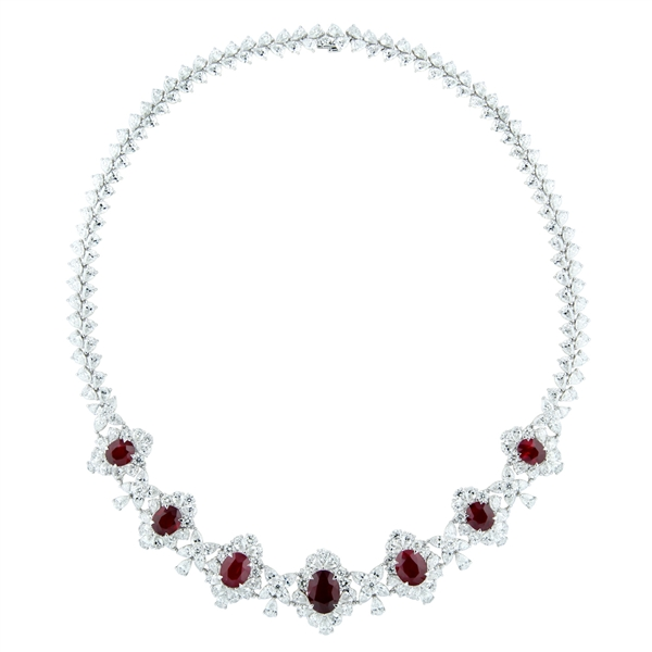 Nelson Jewellery ruby and diamond collar necklace