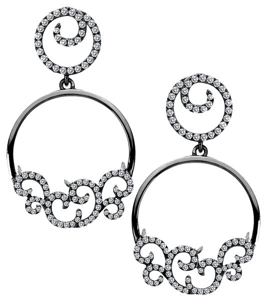 Michael John IMAGE diamond swirl earrings