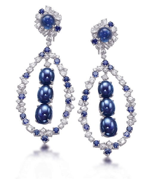 B.A. Gold cabochon sapphire drop earrings