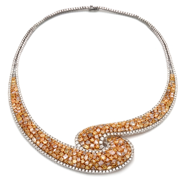 Almor Designs fancy diamond swirl necklace