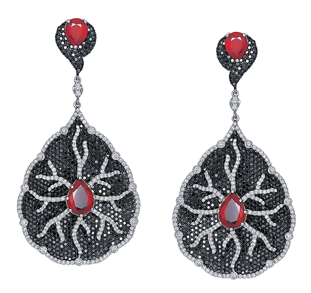 Bapalal Keshavlal black diamond and ruby earrings