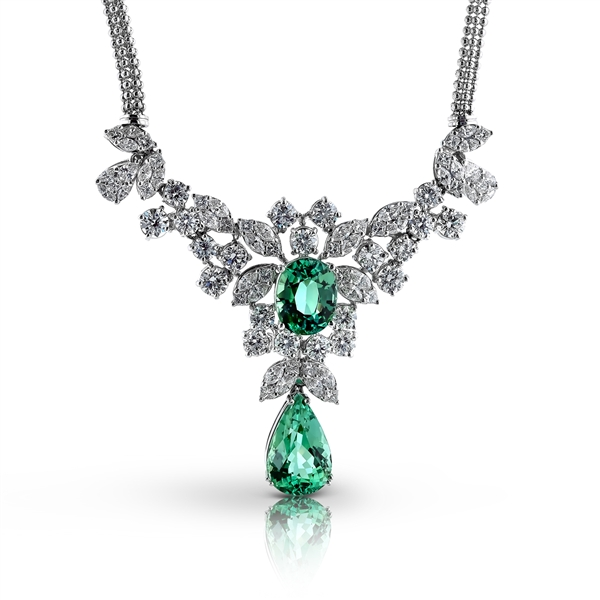 Simon G. green tourmaline and diamond necklace