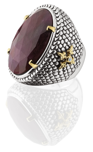 KIR Indian ruby cocktail ring