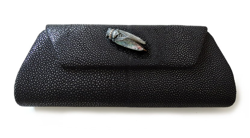 Stingray clutch with silver and diamond removeable Cicada closure by Anna Ruth Henriques