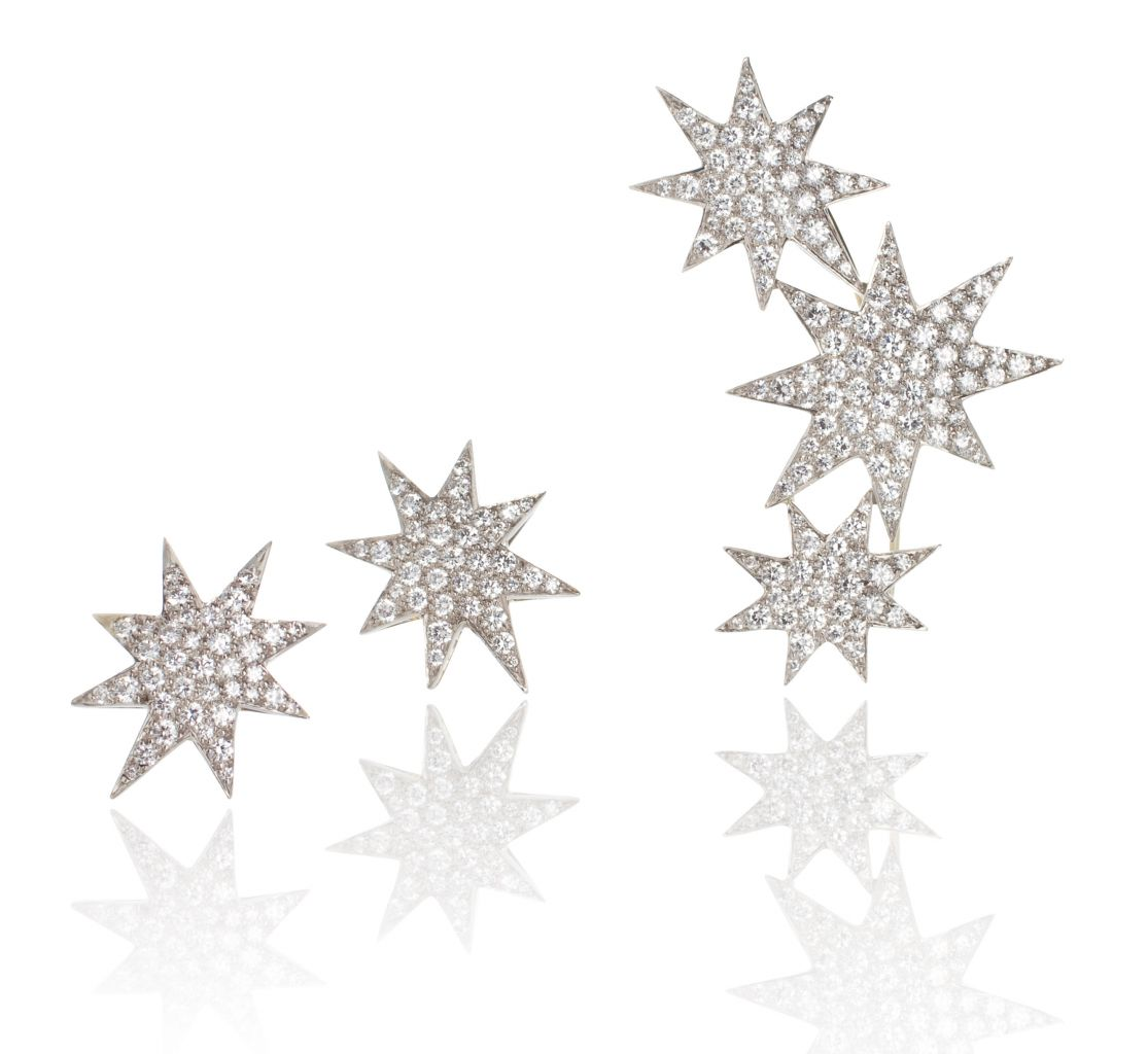 Oscar Heyman platinum star brooch and earrings