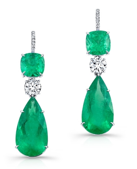 ABC Gems emerald drop earrings