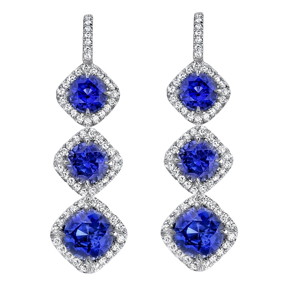 Omi Prive sapphire triple drop earrings