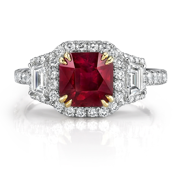 Omi Prive square ruby and diamond ring