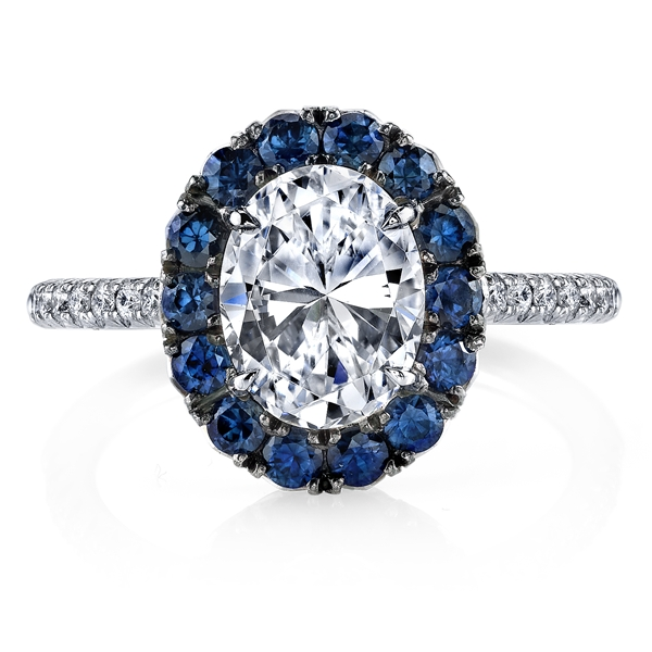Omi Prive sapphire halo diamond engagement ring