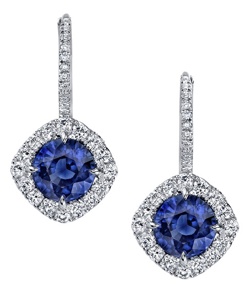 Omi Prive round sapphire halo drop earrings