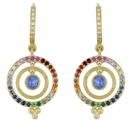 Temple St. Clair double ring multicolor sapphire earrings